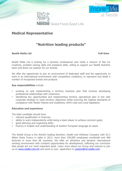 Medical Representative - advert copy