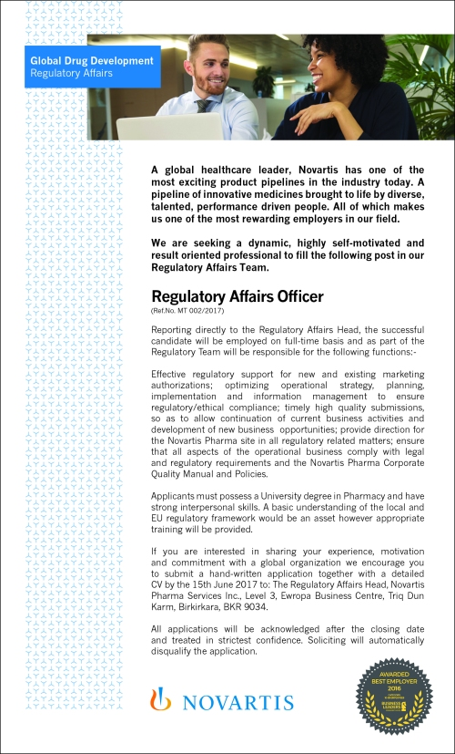 Novartis Regulatory Affairs vacancy 2017