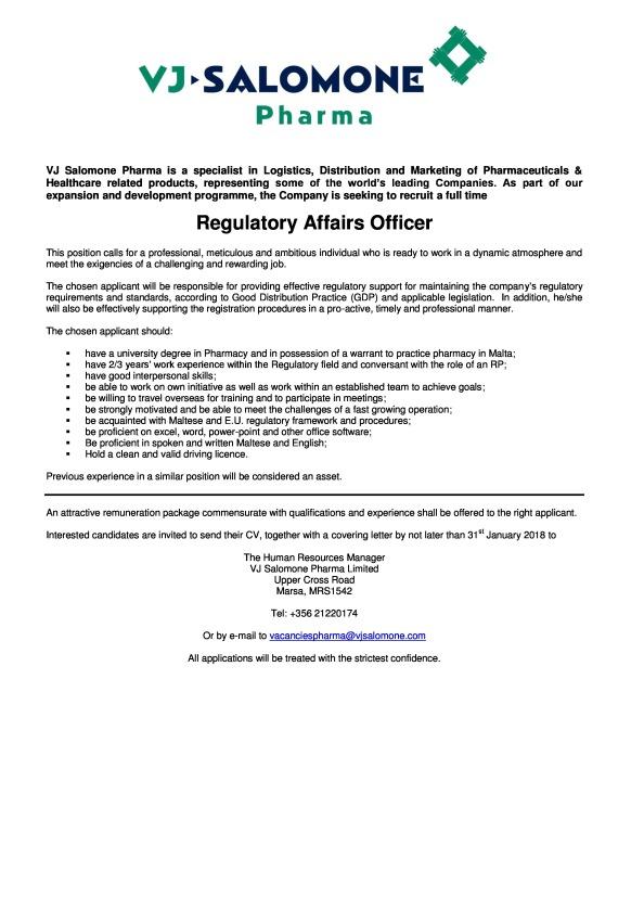 Regulatory Affairs Officer v6 VJSalomone - 12012018-page-0 (2)